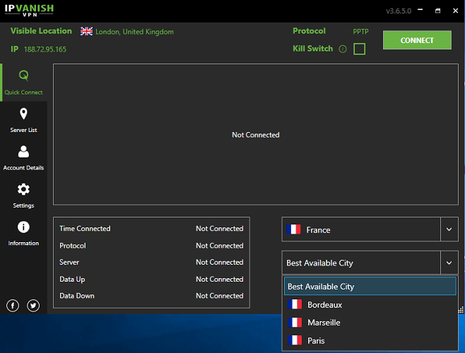 IPVanish - 法国服务器
