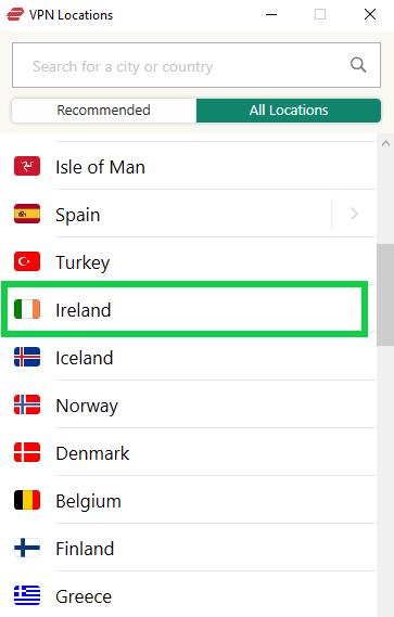 ExpressVPN-爱尔兰服务器