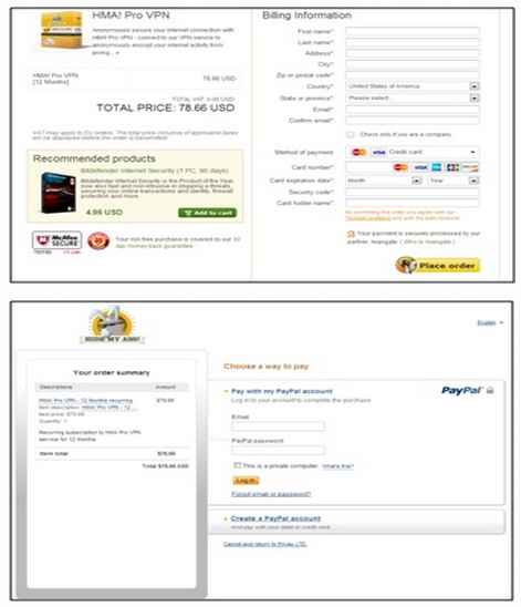 hidemyass Credit Card option and their submission forms