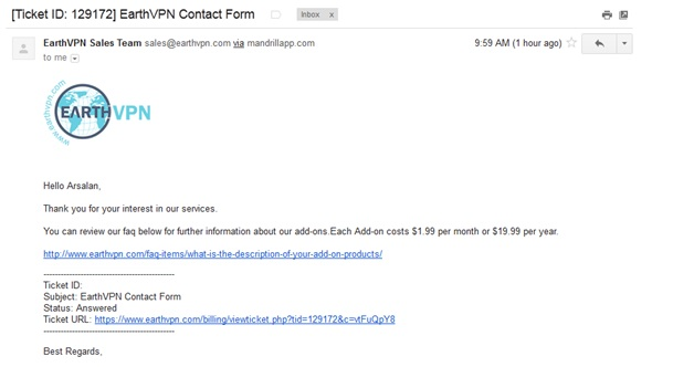 EarthVPN Contact Form Reply