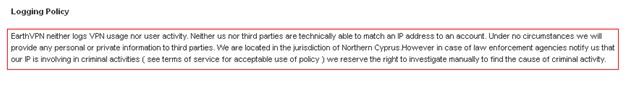 EarthVPN Logging Policy