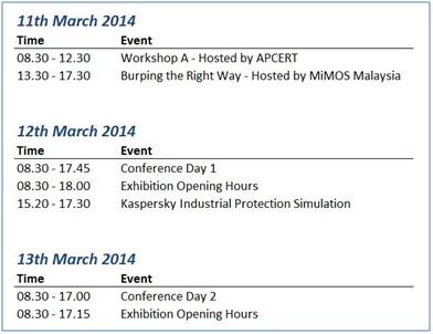 Cyber Intelligence Asia 2014 Schedule