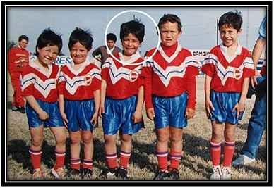 Luis Suarez with his childhood football buddies