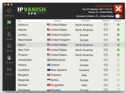 ipvanish server locations
