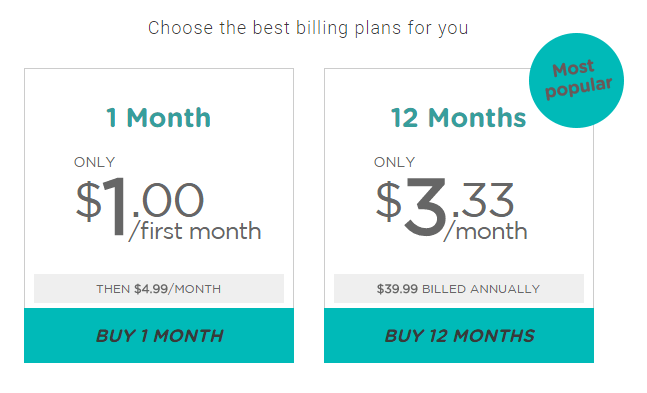 Prices offered by VPN.ht
