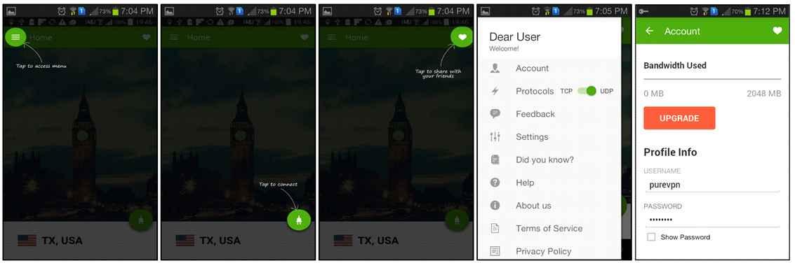 PureVPN Android App