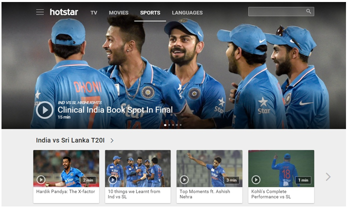 watch Cricket live on HotStar from outside India