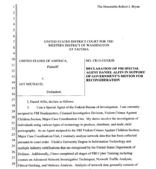 "Declaration of FBI's special agent ""Daniel Alfin"""