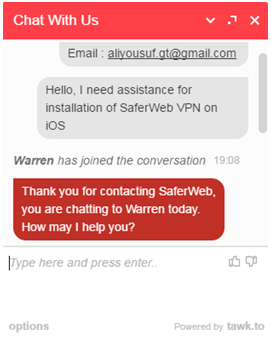 24/7 Live Chat Technical Support screen shot of saferweb