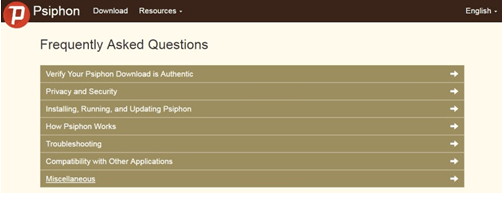 Frequently ask questions about Psiphon