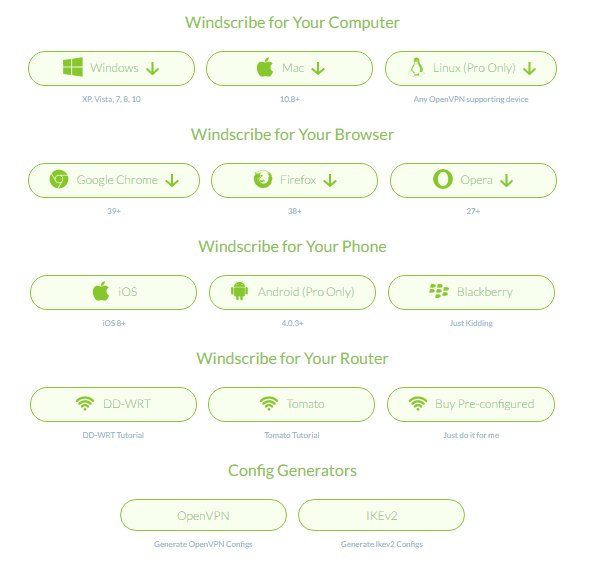 Cross Platform Availability of Windscribe