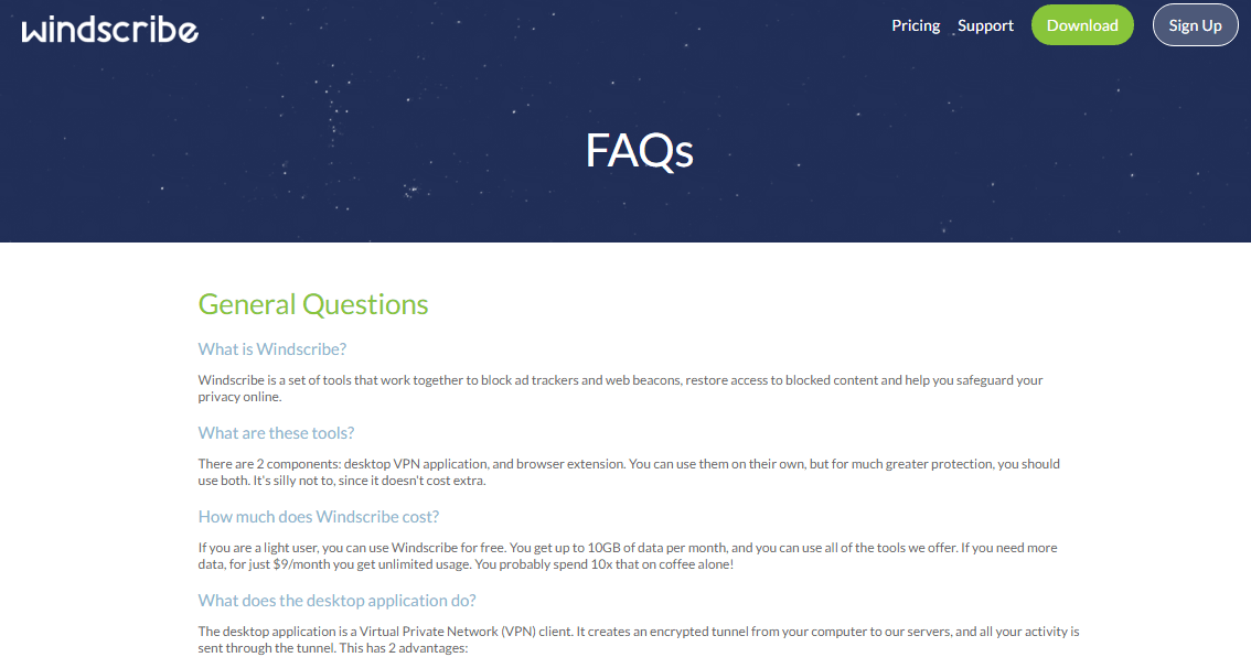 FAQs section windscribe vpn