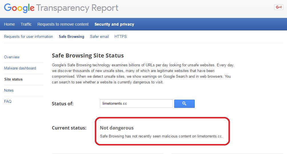 Google Safe Browsing Status about Limetorrents.cc