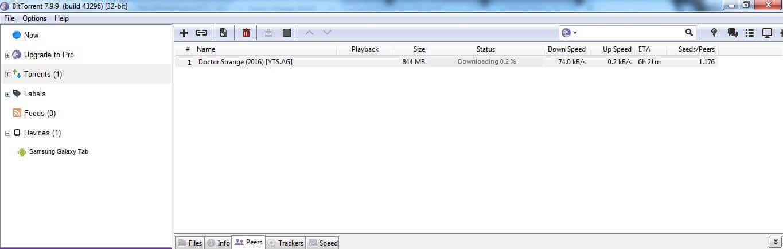 Speed test of BitTorrent