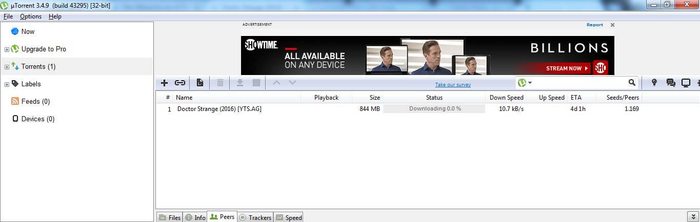 Speed test of uTorrent