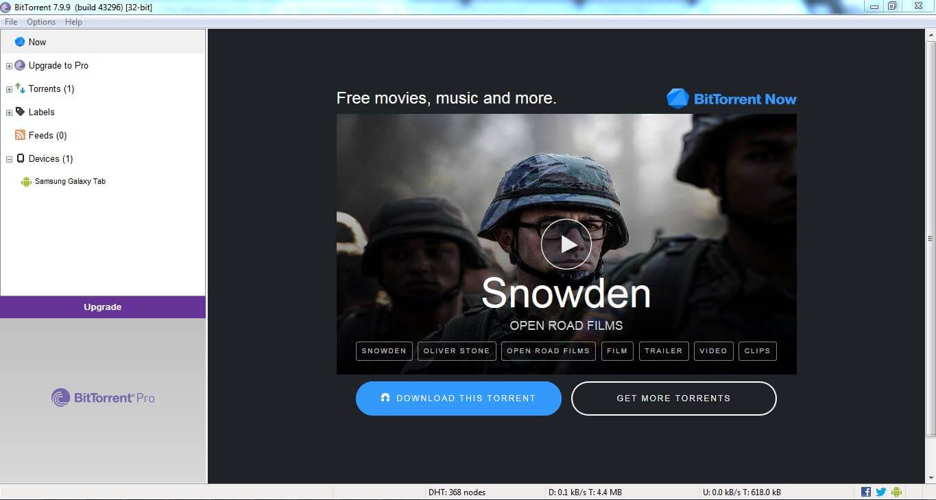User Interface of BitTorrent client