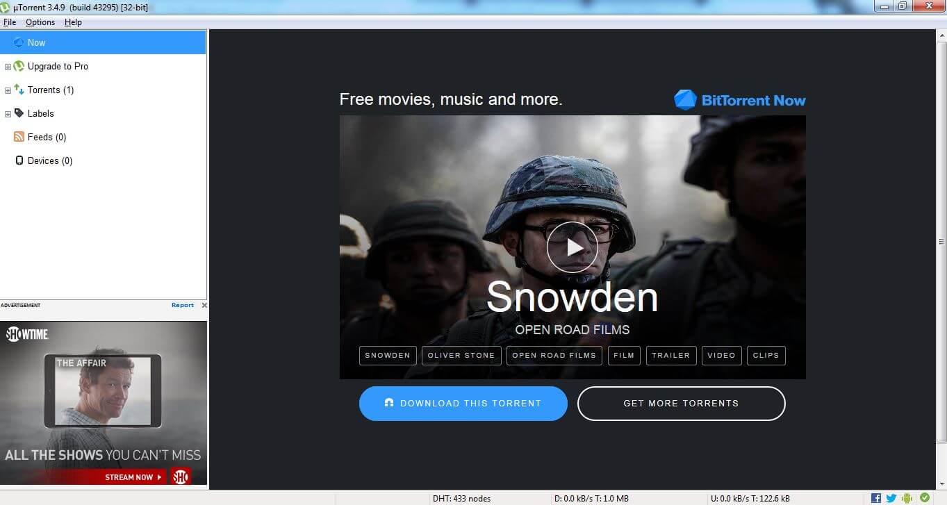 User Interface of uTorrent client