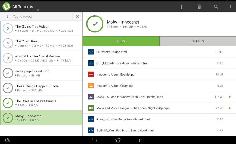 uTorrent or BitTorrent Android Phones & Tablets