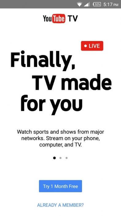 YouTube TV on Android system