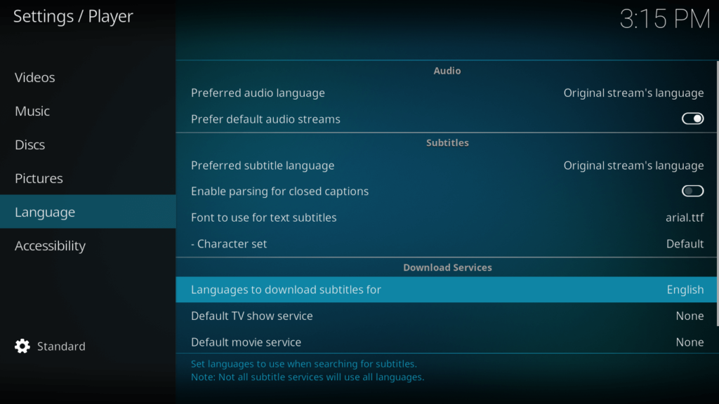 Subtitles Setup on Kodi for Game of Thrones
