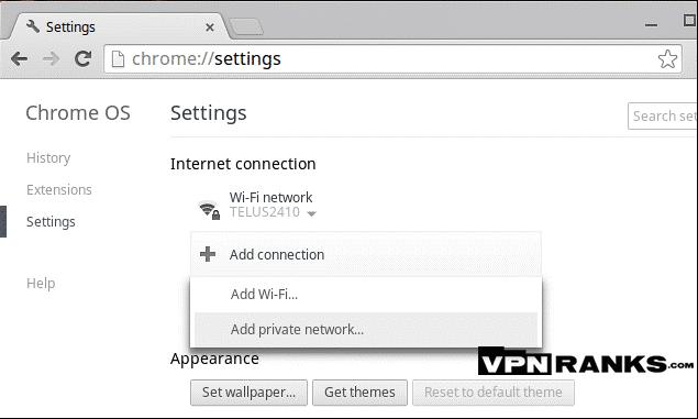Setup VPN on Chromebook with L2TP