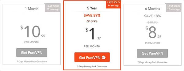 purevpn 5 year subscription pricing