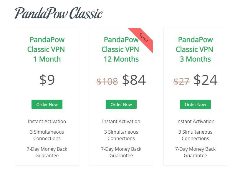 Pandapow-VPN-Prices