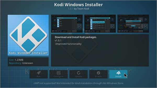 Updating Kodi on Windows