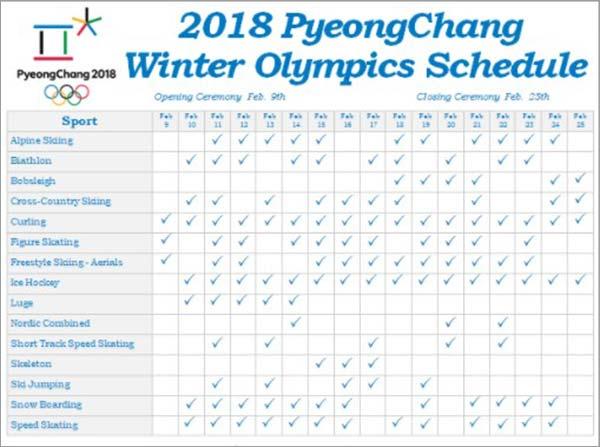 Winter-2018-Olympics-Schedule
