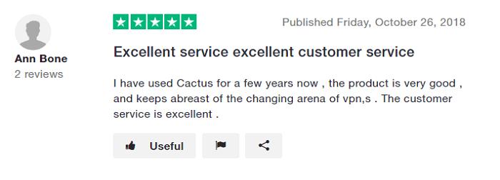 CactusVPN Trustpilot-Review-2