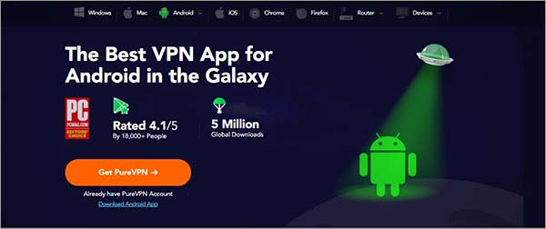 PureVPN-Android-Aplicación
