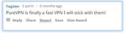 Reddit comment praising PureVPN's speeds