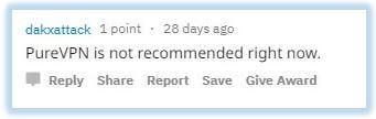 Reddit comment no suggesting PureVPN