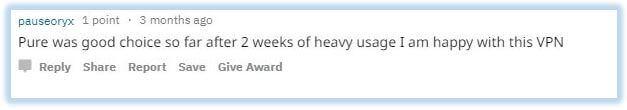 Reddit comment of a satisfied PureVPN customer