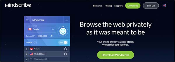 Windscribe VPN para el anonimato en línea
