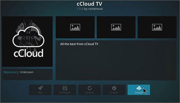 cCloud TV add on for Kodi
