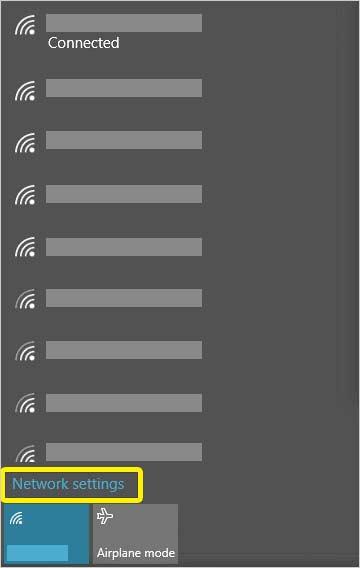 Elija la configuración de red del menú emergente