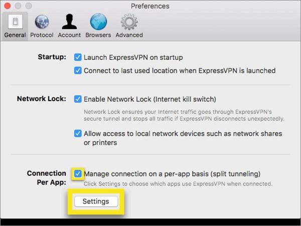 ExpressVPN Split Tunneling en Mac