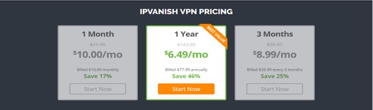 Планы ценообразования IPVanish