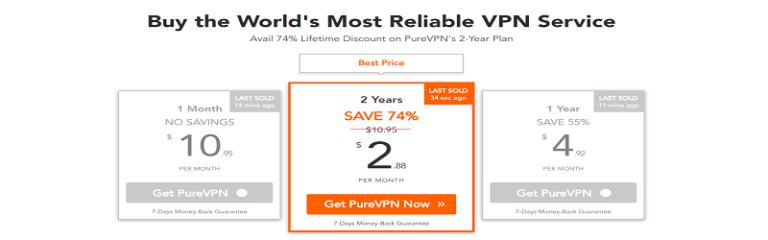 Планы ценообразования PureVPN