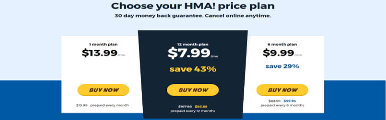 Planes de precios HideMyAss