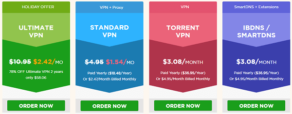 ibVPN Prices and Plans