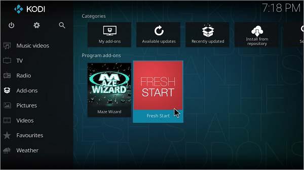 Kodi Fresh Start - How to Install Fresh Start on Kodi