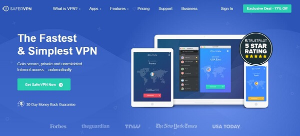 SaferVPN is a reputed VPN for its security