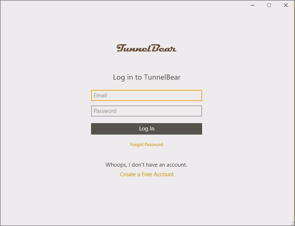 TunnelBear-Login