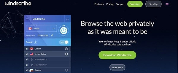 Windscribe offers quality sevices for free