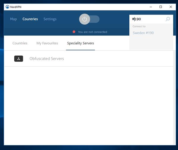 连接和NordVPN服务器