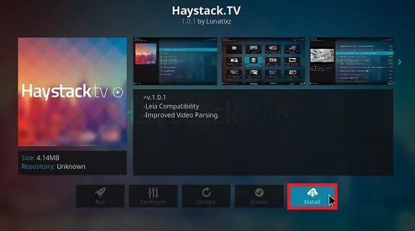 How to install Haystack TV Kodi Step 6