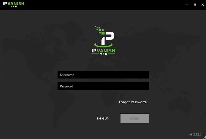 INICIO de sesión en IPVanish-Windows-app