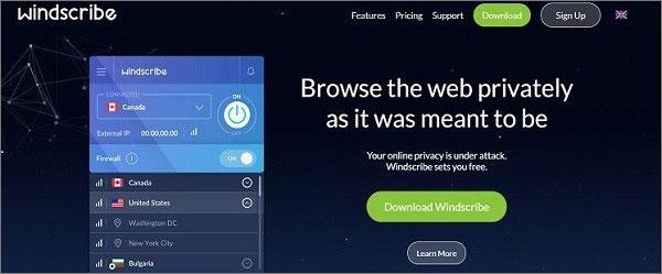 Windscribe - Das beste kostenlose VPN für Windows